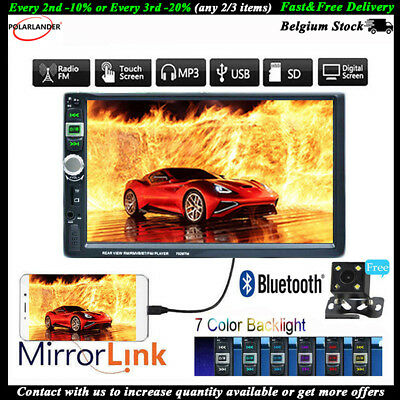 Touch Screen 2 Din USB 7 Inch Car Radio MP5 Player FM Camera Head Unit Bluetooth