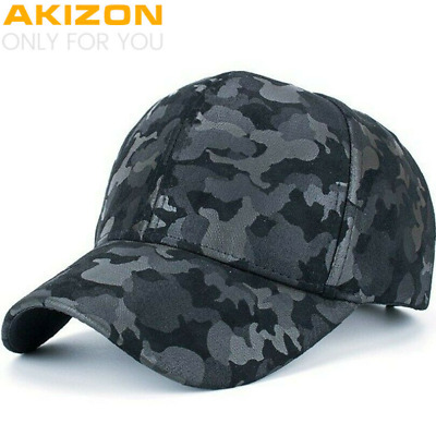 AKIZON Camo PU Fitted Hat Baseball Cap Casual Camouflage Dot Casquette Fashion