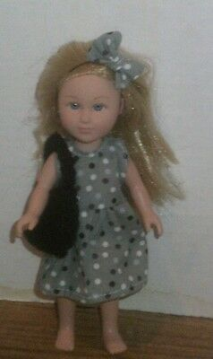 "6/6.5"" Doll Clothes-fit Mini American Girl My Life-Dress,Bag & Bow-Dots Black"