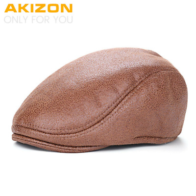 AKIZON 2016 New Plain PU Berets Caps with fur inside For Men Casual Peaked Caps