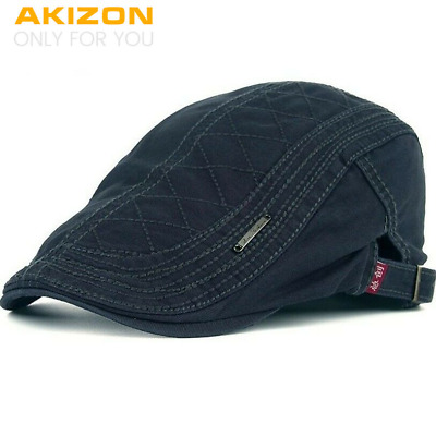 Newsboy Cap Autumn Cotton Berets Caps For Men Casual Peaked Hats Grid Embroidery