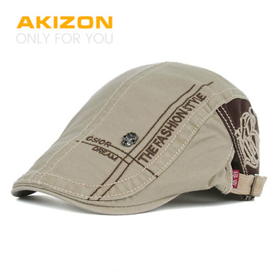 AKIZON New Summer Cotton Berets Caps For Men Casual Peaked Caps letter