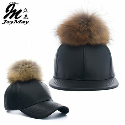 2016 New real fur pom pom cap for women Spring candy color PU baseball