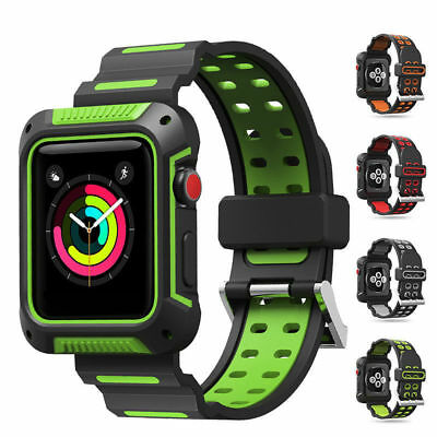 For Apple Watch Series 4 3 2 1 Rugged Protective Case with Strap Band 38mm 44mm