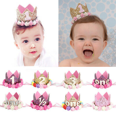 Infant Baby Birthday Party Sequins Rose Floral Digital Crown Headband Hair Band