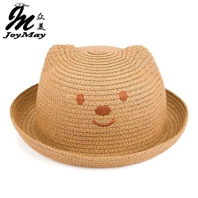 2016 Fashion Straw Hats Summer Baby Ear Decoration Lovely Child Character Girls