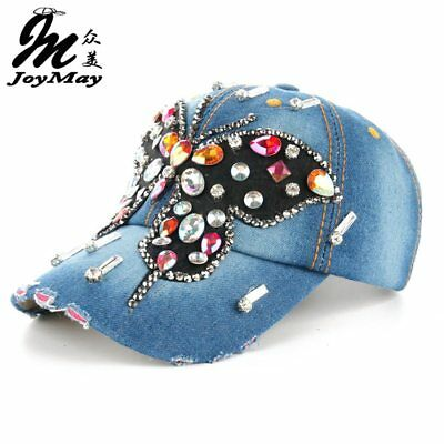 Joymay 2016 New Fashion Design Bling Hat&Cap Colorful Butterfly Denim Jean Lady