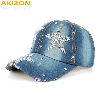 High quality AKIZON Hat Cap Fashion Leisure Cross Cap Rhinestones STAR Jean