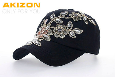 2016 Women Variety Rhinestone &Crystal Shining Studded Cotton Denim Visor Hat