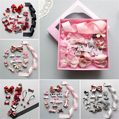 17Pcs Kids Infant Hairpin Baby Girl Bowknot Flowers Motifs Hair Clip Set Baby ..