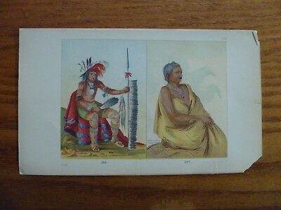 1841 Lithograph-Minnesota American Indians-Chippeway-George Catlin