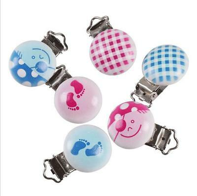 Blue and pink mixed pattern Baby Pacifier Clip Soother Clasps Holders