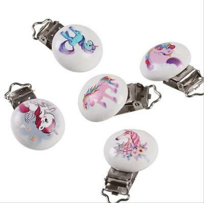 5X unicorn pattern Baby Pacifier Clip Soother Clasps Holders Teether Accessories