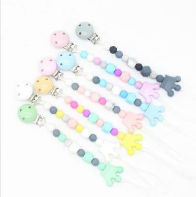 Baby Pacifier clip Food grade Silicone Beads Crown Baby Pacifier chain chew Toys