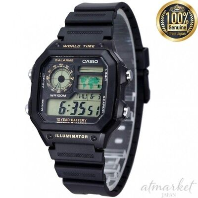 CASIO STANDARD AE-1200WH-1B Watch Men's Black in Box genuine from JAPAN NEW