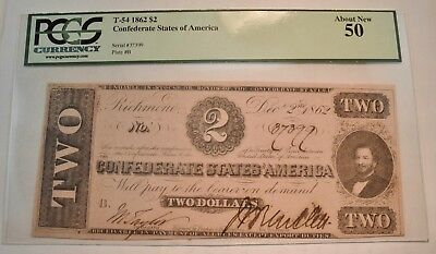 1862 $2 PCGS AU 50 T-54 Confederate Note, Scarce Two Dollar CSA Currency