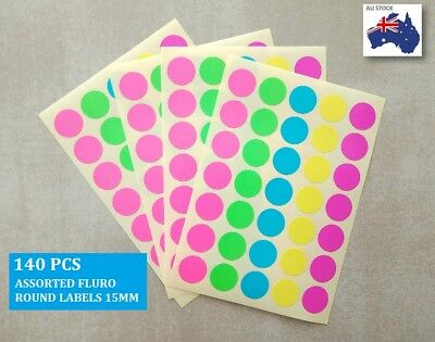 140 Pcs Assorted Fluro Colour Code Round Sticker Label  Dots Spots coloured 15mm