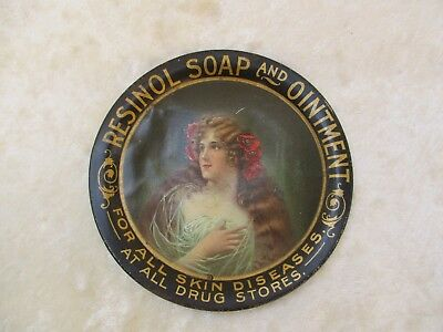 Antique Resinol Soap & Ointment Metal/Tin Spinning Tip Tray