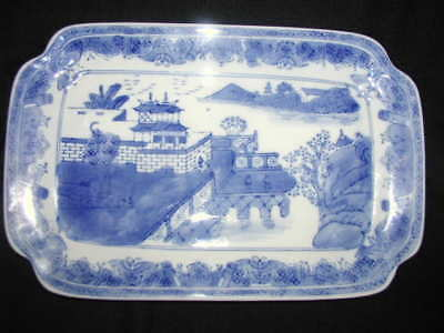 "Antique 13-1/4"" Blue White Large Serving Platter Castle Plum Trees Signed C1800s"