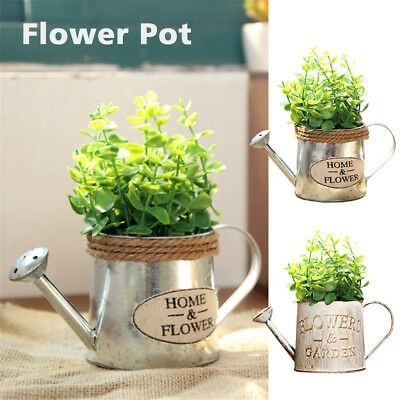 Vintage Bucket Flower Pot Succulent Plant Planter Flowerpot Home Garden Decor