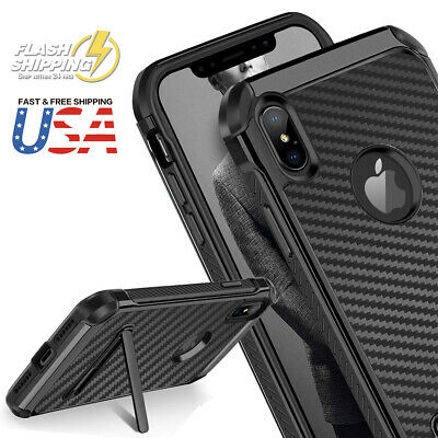 Fits iPhone Carbon Fiber Hybrid Rugged Hard Armor Shockproof Kickstand Case