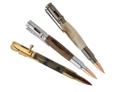 3 PACK Gold, Chrome,Gun Metal, 30 Caliber Bolt Action Bullet Pen Kits w/bushings