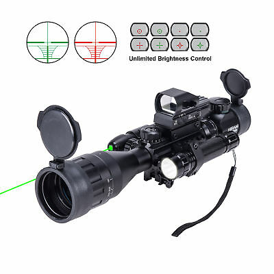 Hiram Rifle Scope 4-16x50 EG w. Holographic 4 Reticle HD Sight&Green Laser Combo