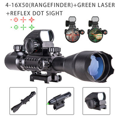4-16x50 Rangefinder Illuminated Rifle Scope W/Green Laser & Red Green Dot Sight!