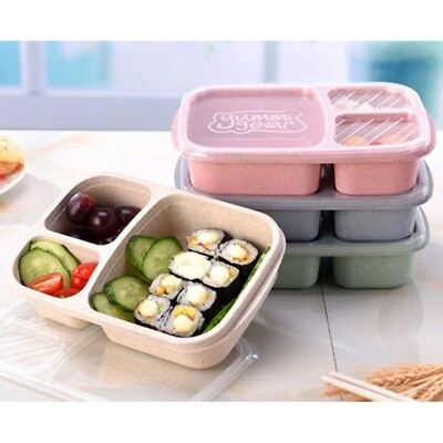 3 Grid With Lid Microwave Food Box Lunch Fruit Storage Container Picnic