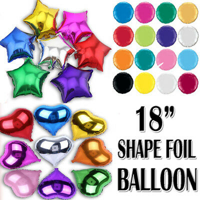 """18"""" Inch Round, Heart and Star Shaped Foil Baloons Assorted Colours Best Quality"""