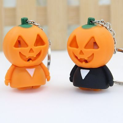 Pretty Halloween Pumpkin LED Light Keychain Sound Flashlight Key Holder Kid Toys