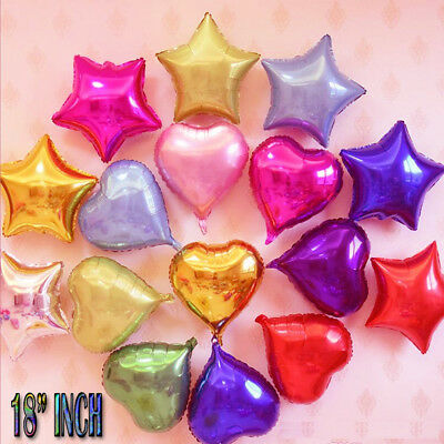 "UK 1-20 PCS 18"" Inch Star Shape Foil Ballons Helium Balloons Party Wedding Decor"