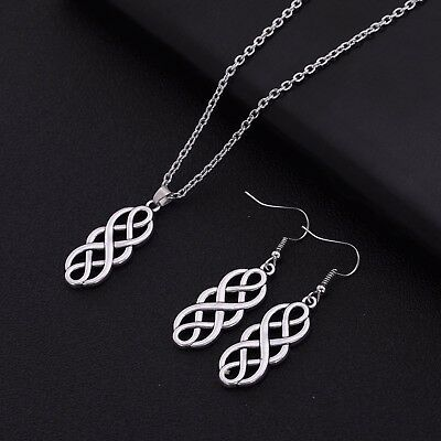 Vintage Nordic Viking Celtic Irish Knot Drop Earring and Necklace Jewelry Set