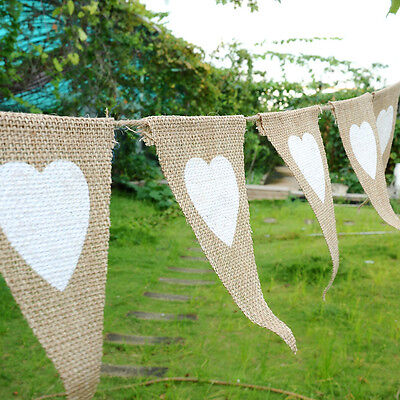 2.8M Rustic Heart Jute Hessian Burlap Bunting Shabby Chic Wedding Banner Decor