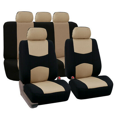 Beige Car Seat Covers Cloth Universal Washable Dog Pet 5Seat full set front rear