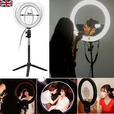 "8"" LED Ring Light with Stand Dimmable Lighting Kit For Makeup Youtube Live UK"