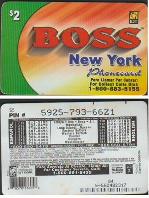 I.d.t Boss New York $2 Expire 2005/09 Telecarte Prepayee
