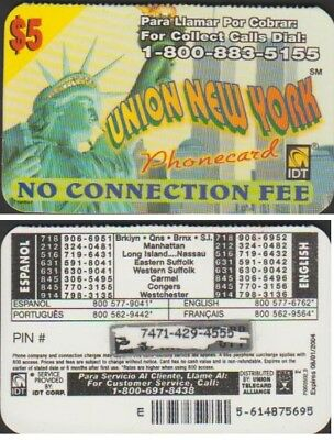 I.d.t Union New York $5 Expire 2004/01 Telecarte Prepayee
