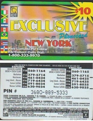 I.d.t Exclusive New York $10 Expire 3 Mois Telecarte Prepayee