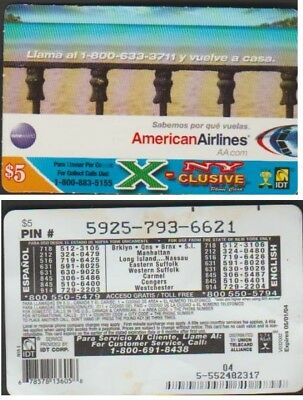 I.d.t American Airline Exclusive New York $5 Expire 2007/08 Telecarte Prepayee