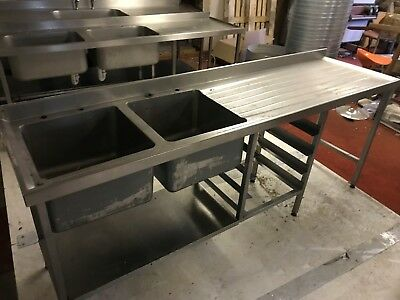 Stainless Double Bowl Sink Righthand Drainer