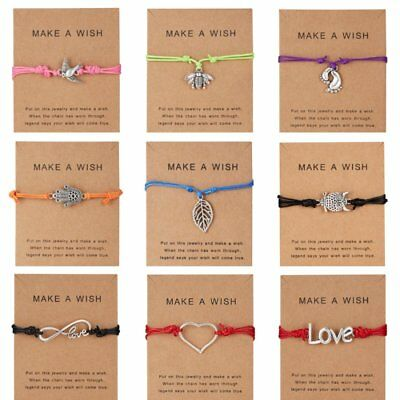 Lucky Make a Wish Bracelet Tibetan Charm Friendship Best Friend Sister Braided