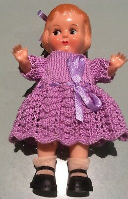 "Hard Plastic Doll 5 1/2"" Molded Hair Hand Knitted Purple Dress & Knickers"