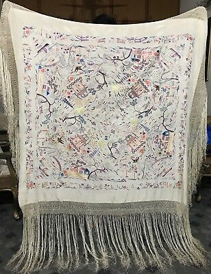 "Antique Chinese Hand Embroidered Silk Piano Shawl Multi 52"" X 54"" Fringe 20"""