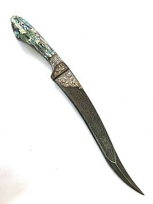 Indo Persian Mughal Islamic Silver Damascened Damascus dagger with black covwe
