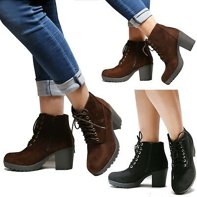 ed79b644f2cb New Women Combat Platform Lace Up Lug Sole Chunky Heel Ankle Boots Booties