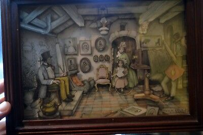 Vintage Anton Pieck Shadow box picture decoupage 3D collage paper Tole Art 1980s
