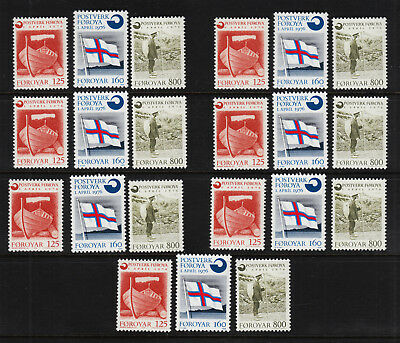 FAROE ISLANDS #21, #22, and #23 MNH 7 SETS 1976: Boat, Flag, Mailman SCV $26.60