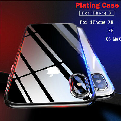 Luxury Ultra Thin Plating Soft TPU Slim Back Cover Clear Case for iPhone XS Max