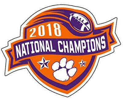 "Clemson Tigers 2018 National Champions Premium Vinyl Decal 4"" NCAA Licensed"